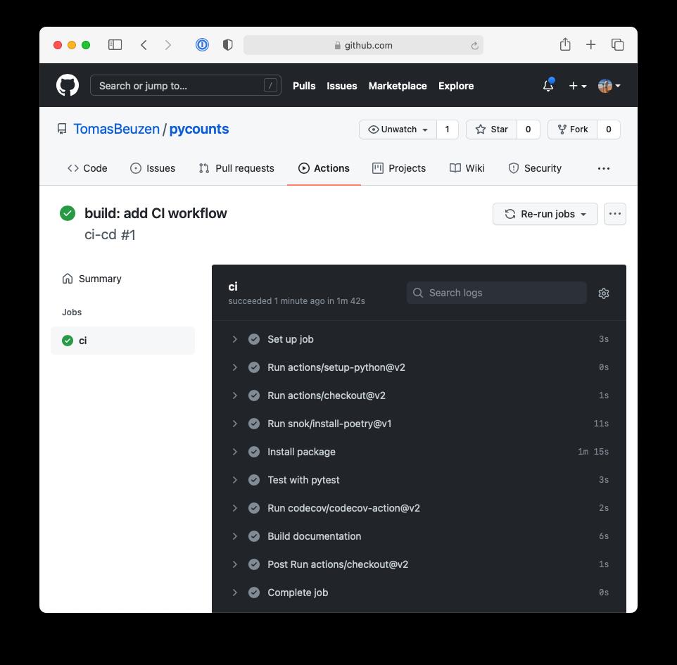 Continuous integration workflow logs.
