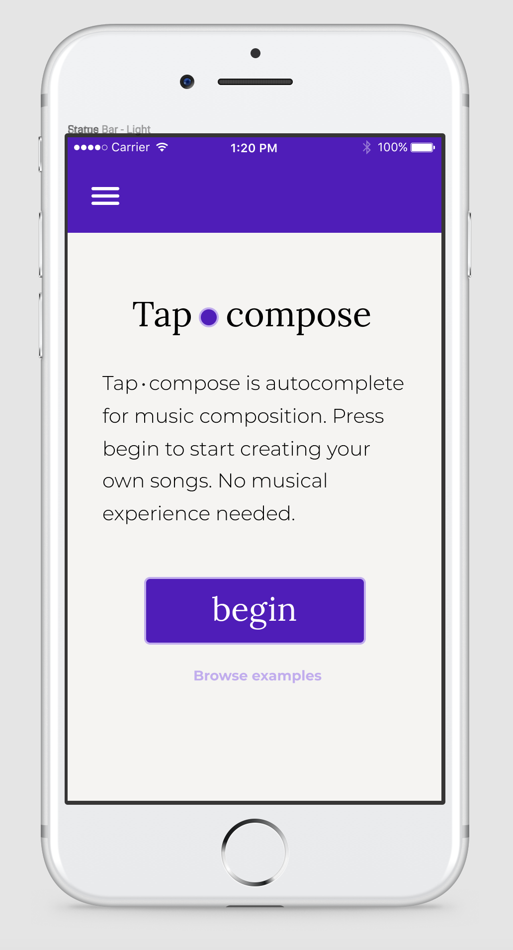 Mobile phone design concept for Tapcompose, showing the logo, a short description, and a big purple button that just says 'Begin.'