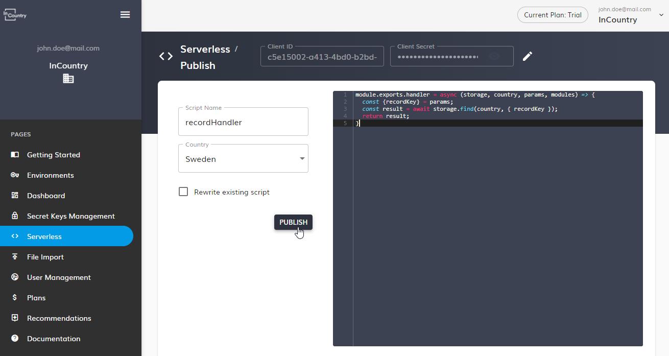 Enter the serverless script