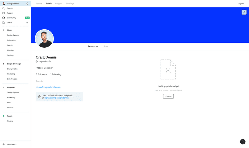 Screenshot of Nothing published in Figma Community