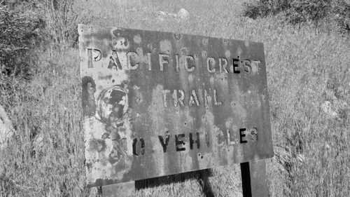 Rusty sign on the Pacific Crest Trail