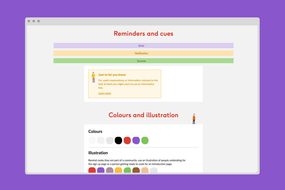 The style guide showing colours and illustration