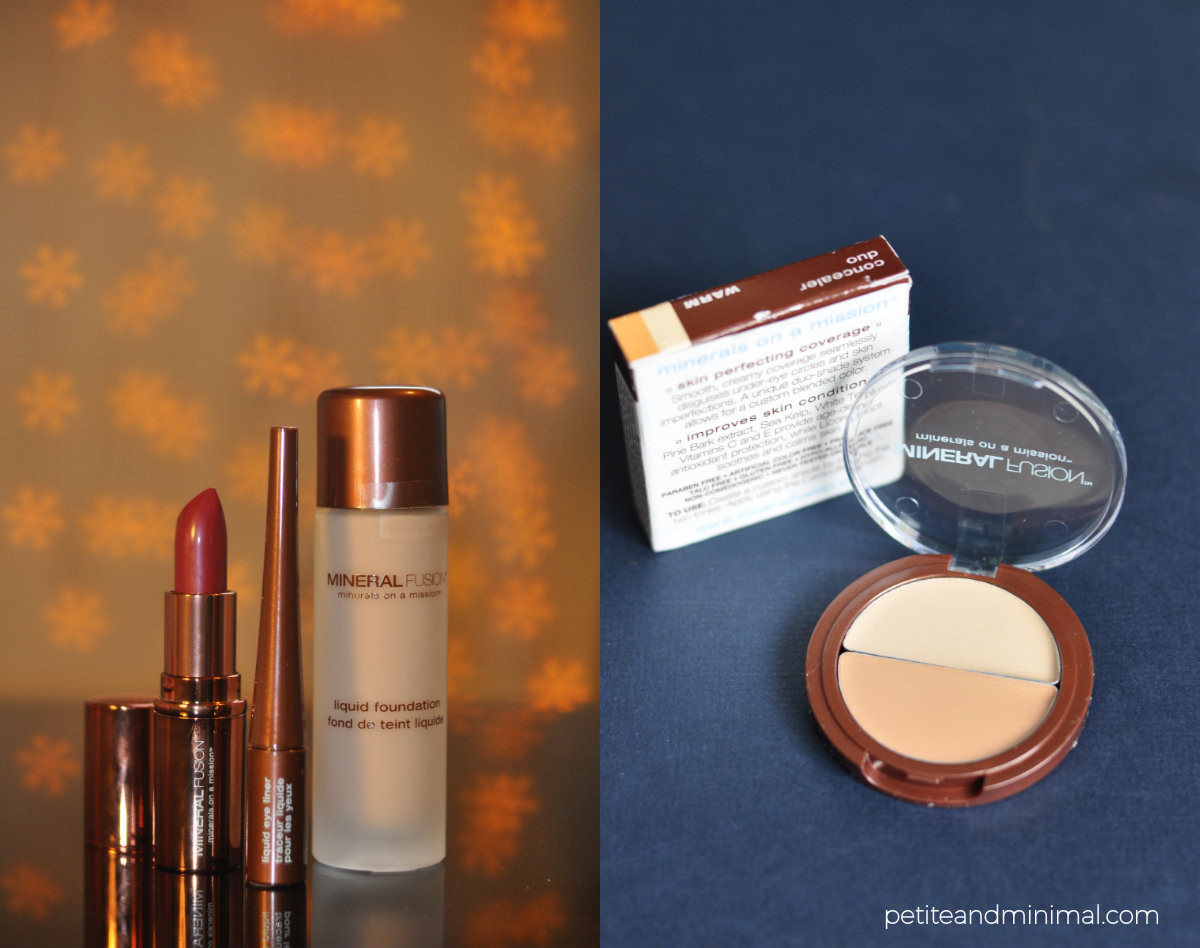 Mineral Fusion lipstick, eyeliner, foundation and concealer