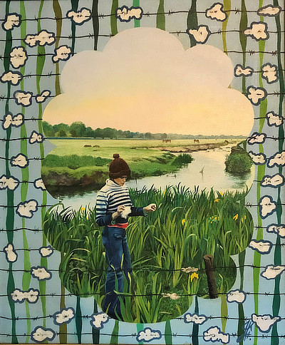 painting depicting woman standing in reeds beside waterway with playful patterned border