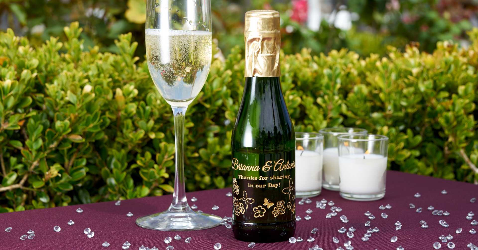 Etching Expressions personalized mini champagne wedding favor