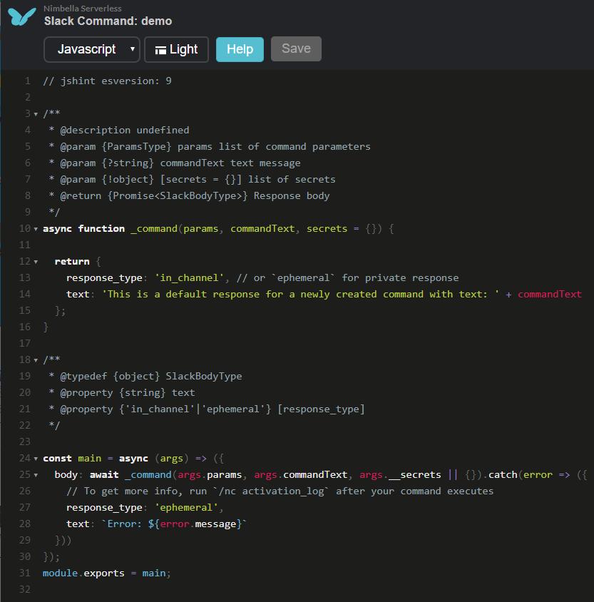 Serverless Slack command code