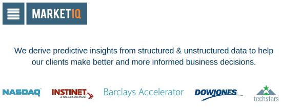 Screenshot of the Market IQ website
