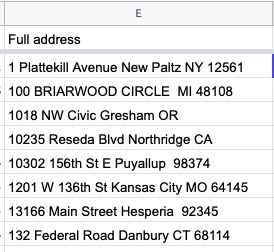 Example of concatenated addresses all in one column each
