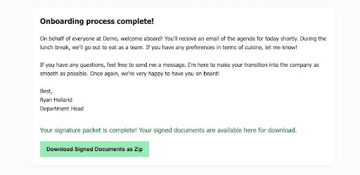 Onboarding completion page.