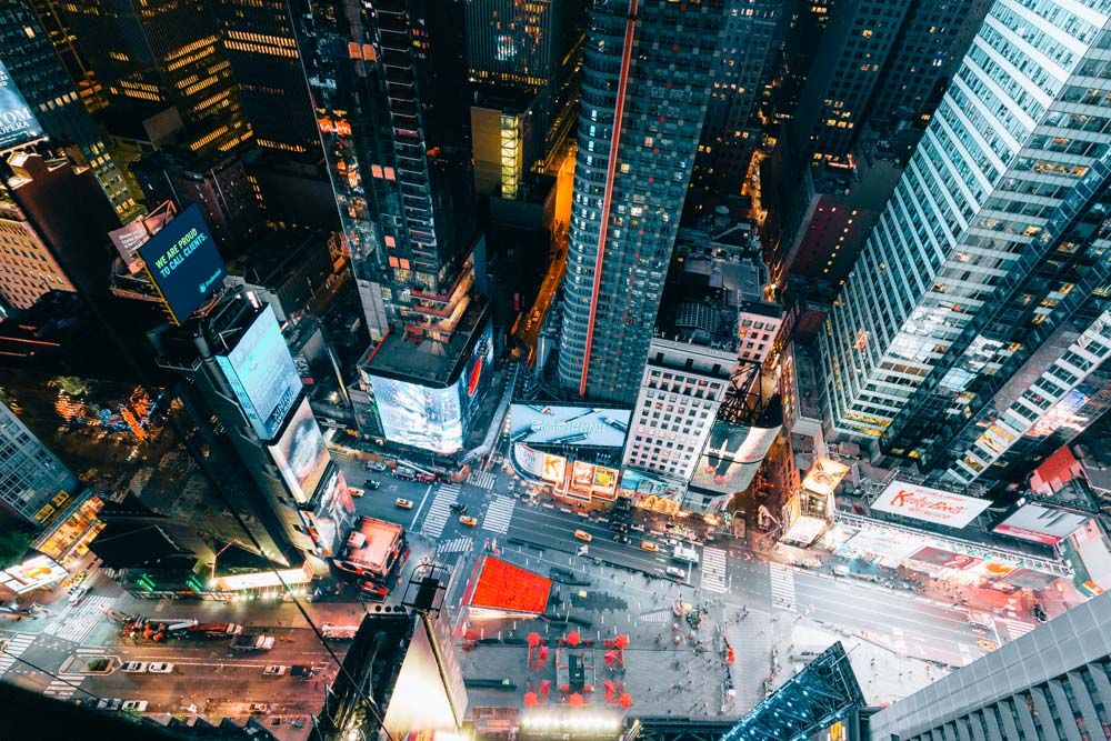 Looking down at Times Square from above