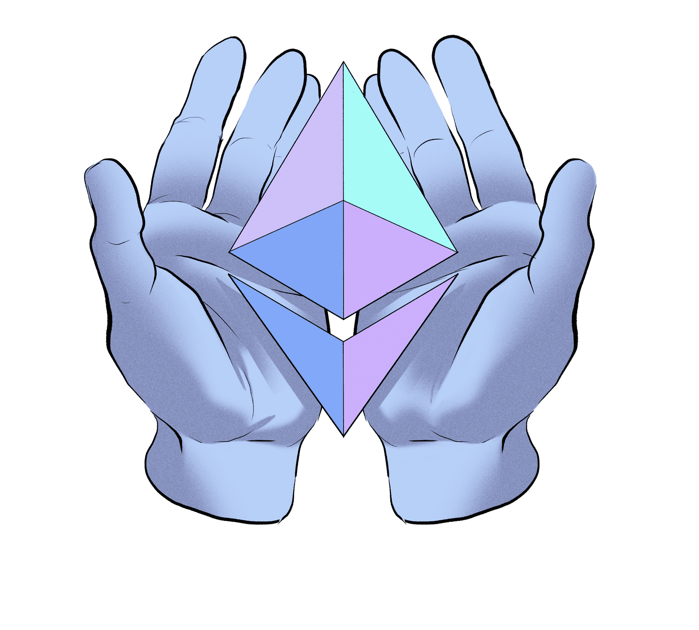 Illustration of hands offering an ETH symbol.
