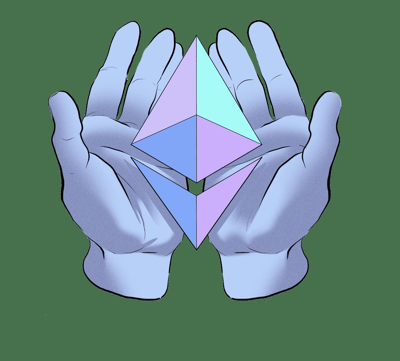 Illustration of hands offering an ETH symbol.