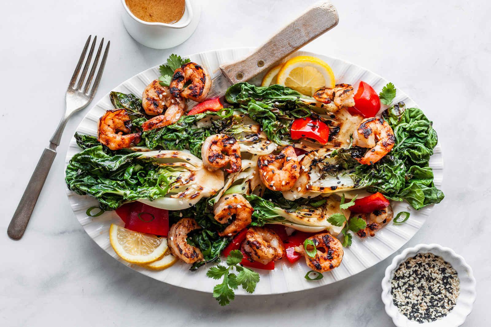 Grilled Bok Choy And Shrimp Salad With A Sesame Soy Miso Dressing