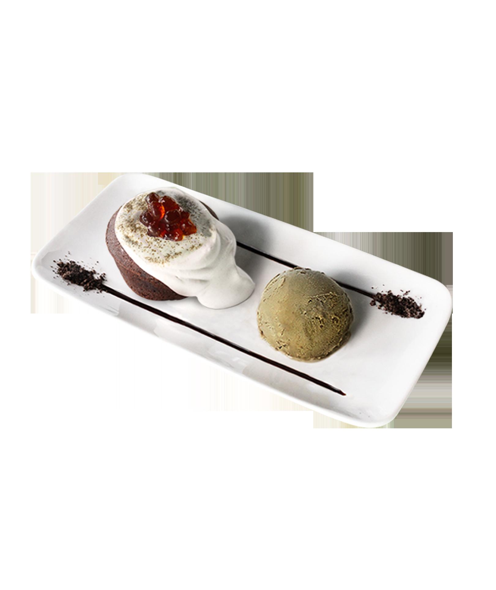 Lava Cake with Houjicha Gelato & Jelly