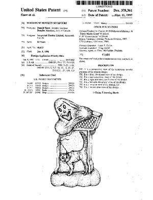 Integrated Plastics Tombstone Novelty Sculpture Patent #D378361.pdf preview