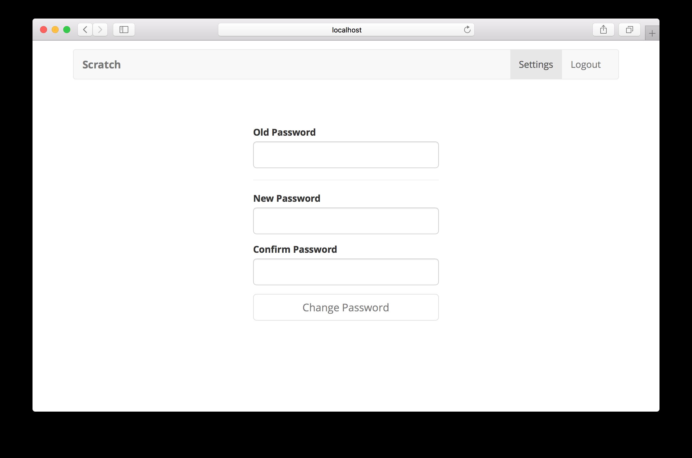 Change password page screenshot