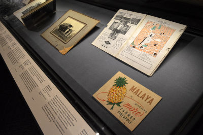 A showcase featuring a black and white photo, map booklet, and an old pineapple advertisment.