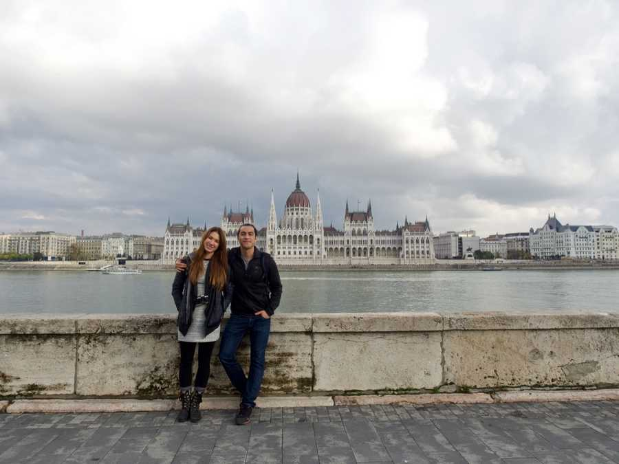 happy couple in Budapest
