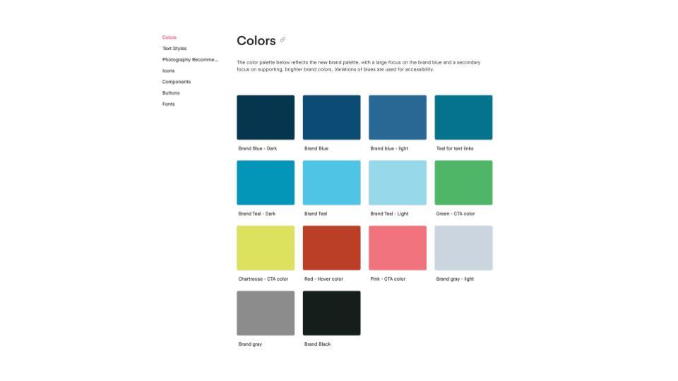 A site color palette.