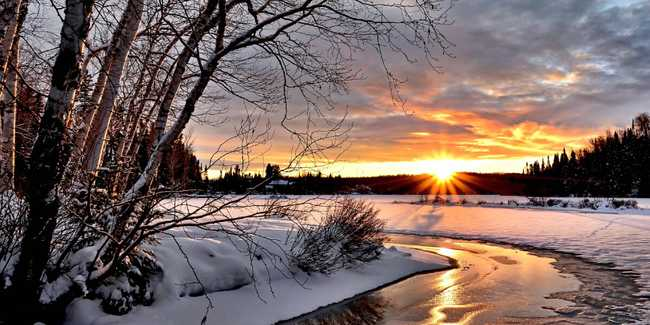 Sunset over a winter scene