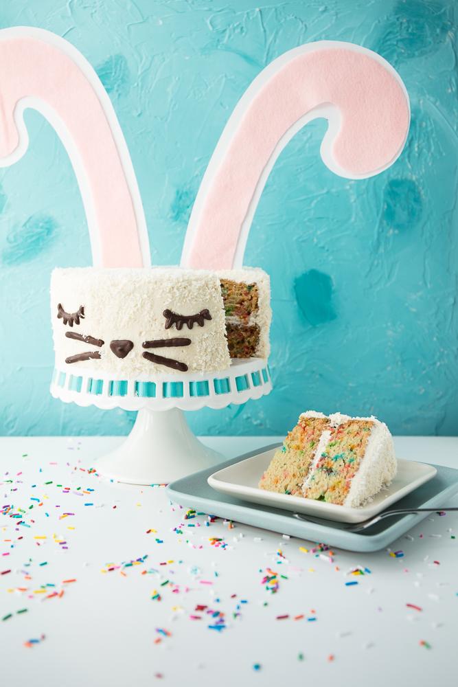 vegan funfetti cake slice