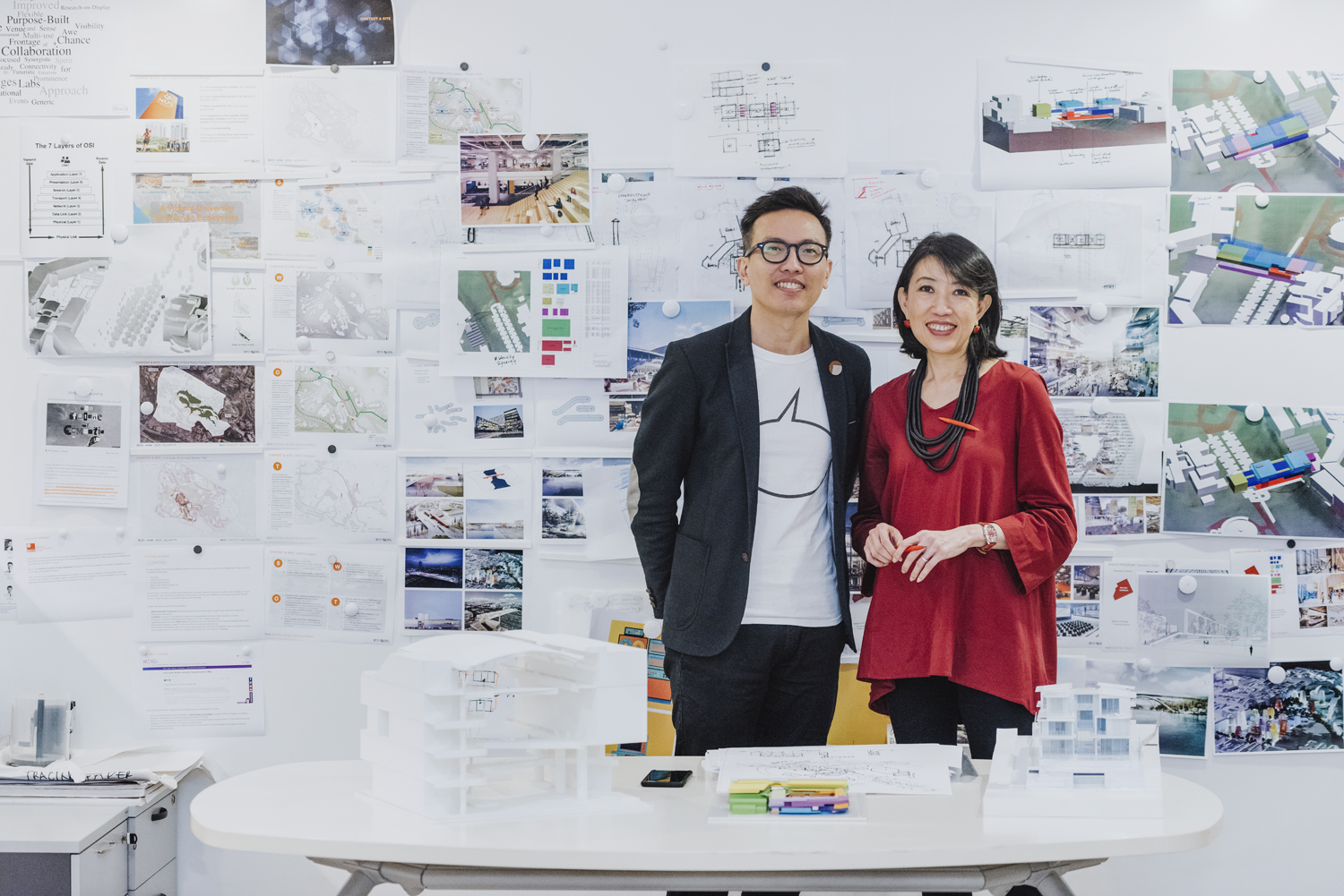 Architects Angelene Chan and Seah Chee Huang in their office