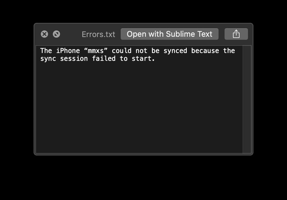 A very helpful error message.