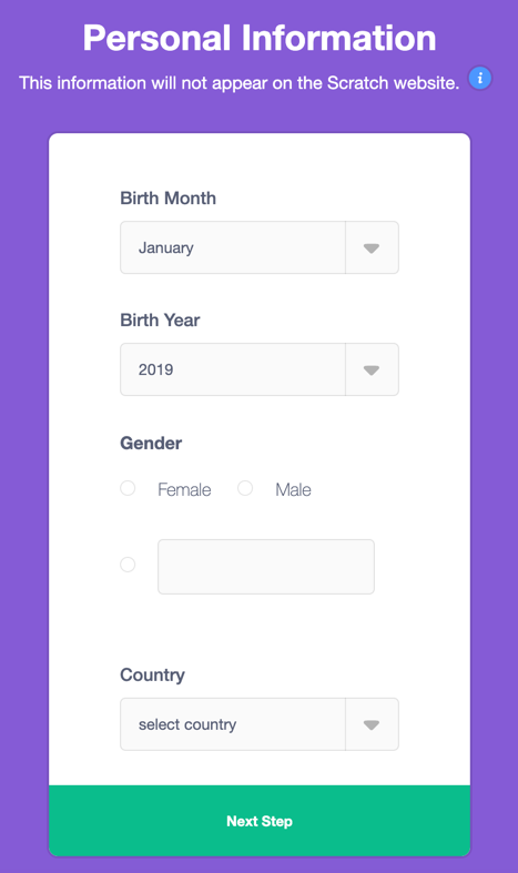 Screenshot of the demographic information students are asked for the first time they sign into Scratch: birth month, birth year, gender, country