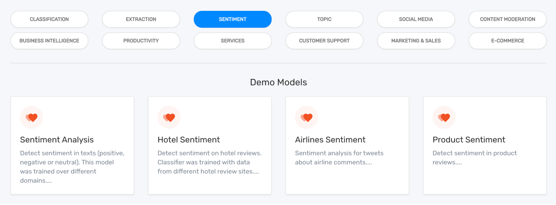 MonkeyLearn dashboard showing sentiment analysis demo models.
