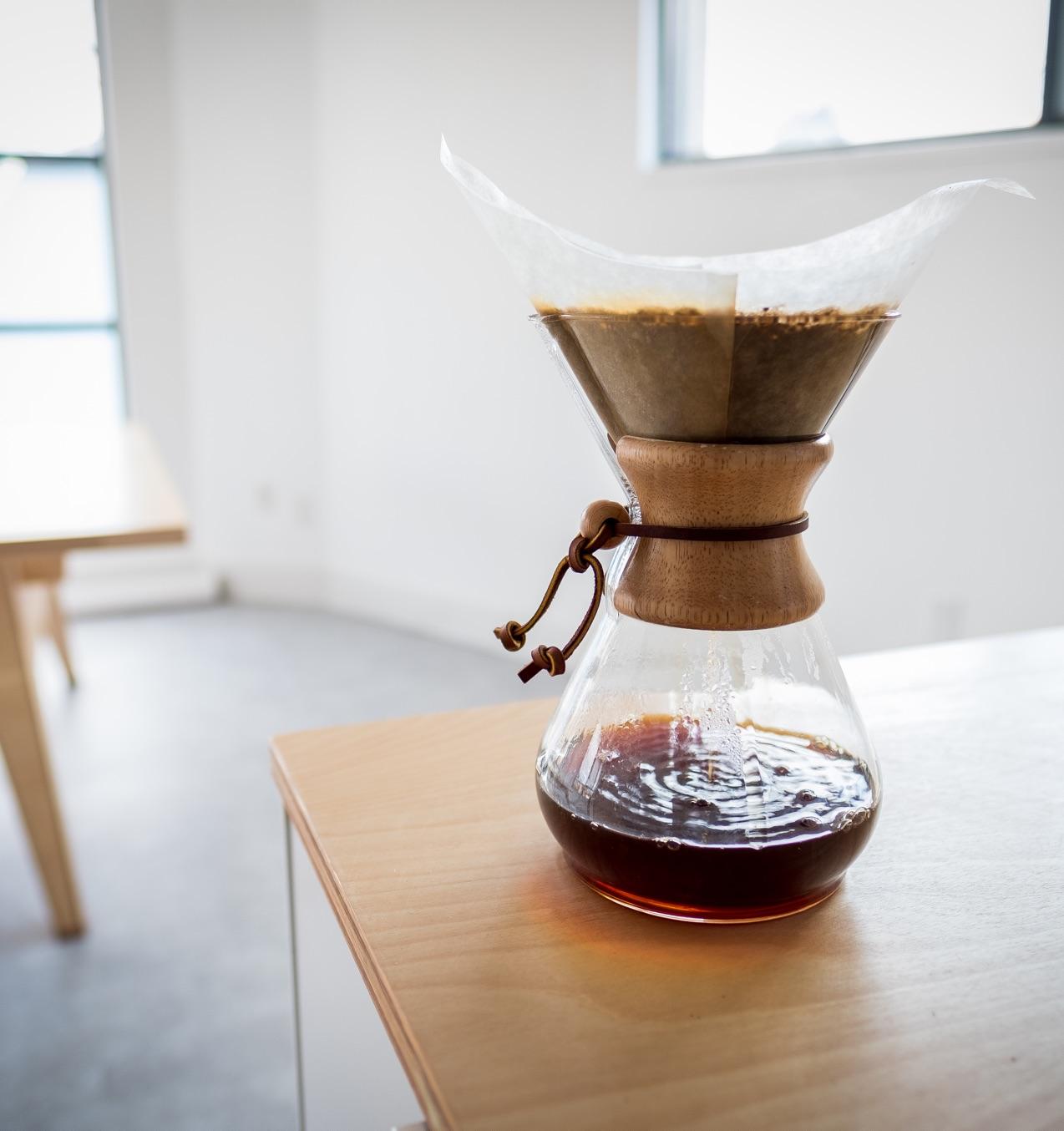 Cemex coffee pot brewing fresh artisinal coffee in the Input Logic kitchen.