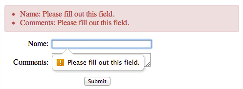 HTML5 Form Validation - Showing All Error Messages