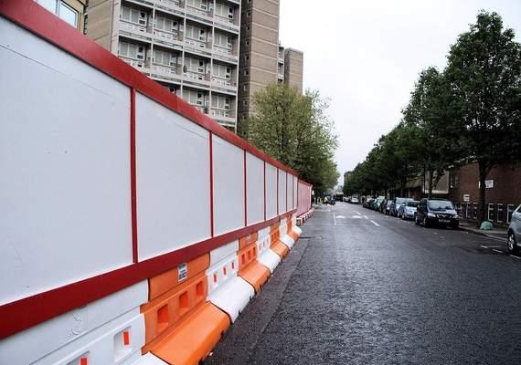 Standard Rhino barrier with hoarding