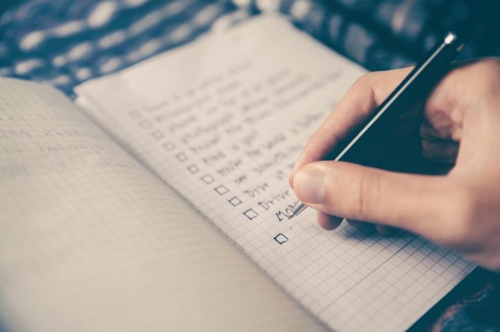 handwritten checklist pictured