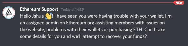 A support scam on Discord