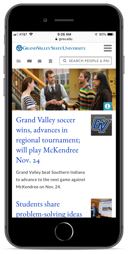 Grand Valley's homepage as viewed on an iPhone 8