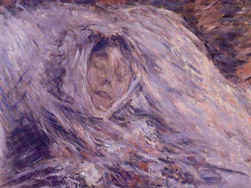 Camille, Monet's wife, died in 1879 aged just 32. The next morning Monet painted her in the morning sunlight.