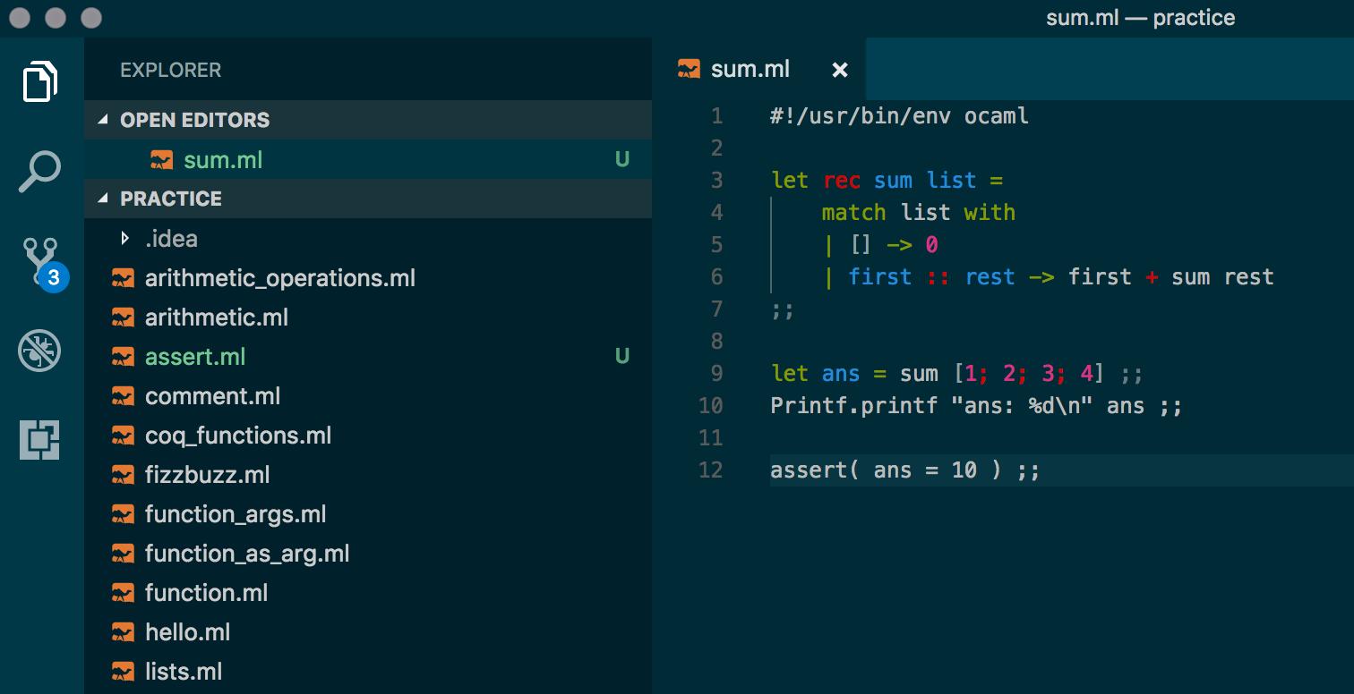 Screenshot of Visual Studio Code OCaml plugin