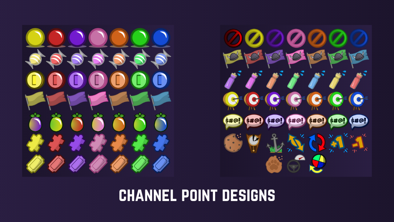 Preview of Twitch channel point designs