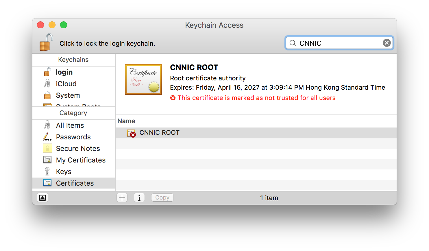 Don't trust CNNIC's root certificate