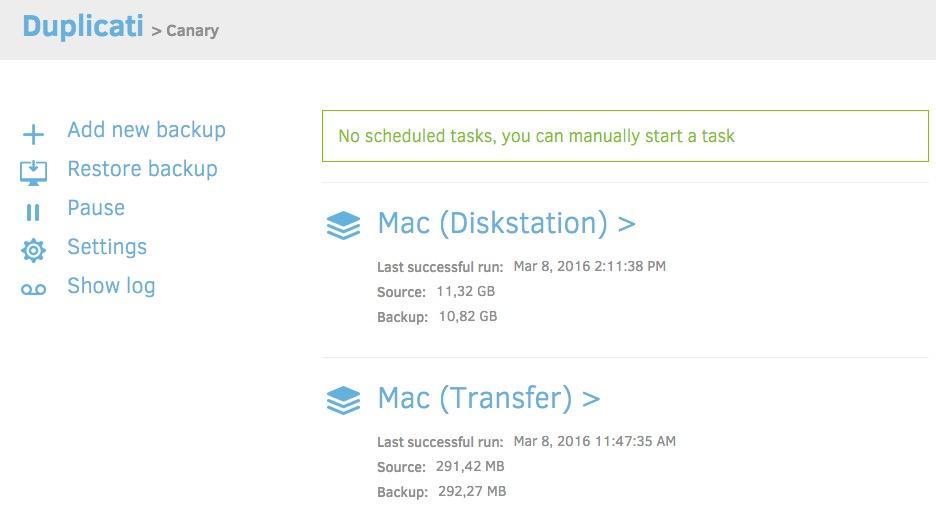 duplicati Screenshot