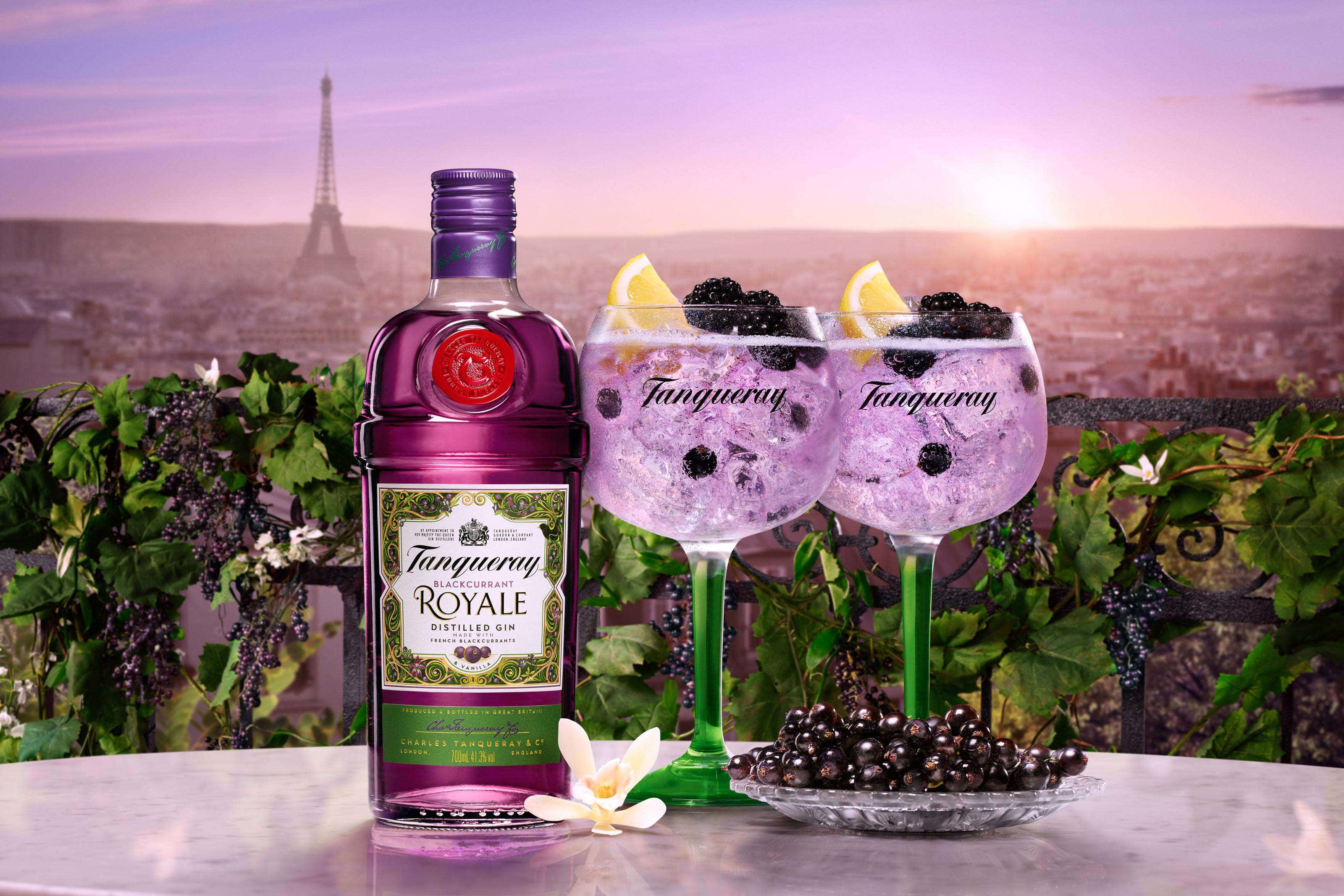 Tanqueray blackcurrant royale gin with two drinks