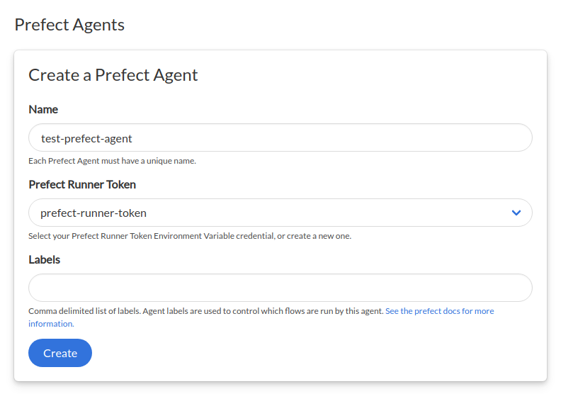Create a Prefect Agent form page in Saturn Cloud UI