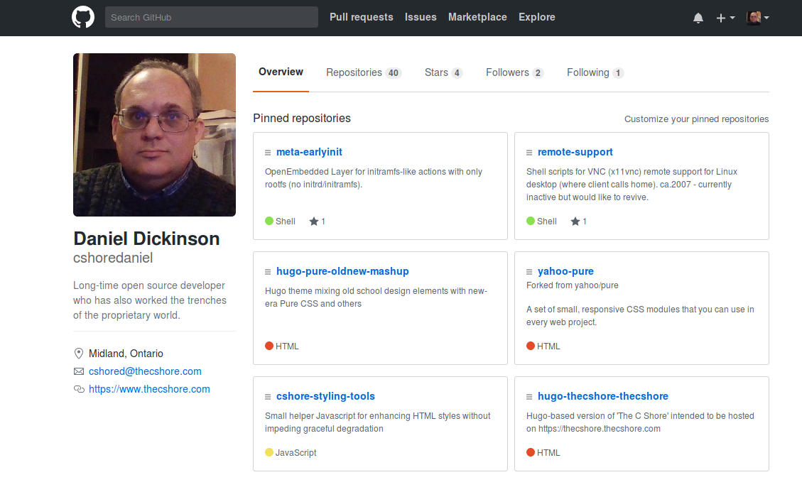 [Screenshot of Daniel Dickinson's GitHub profile]