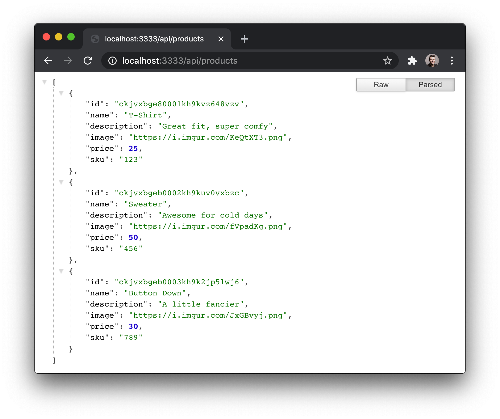 Products data from the API