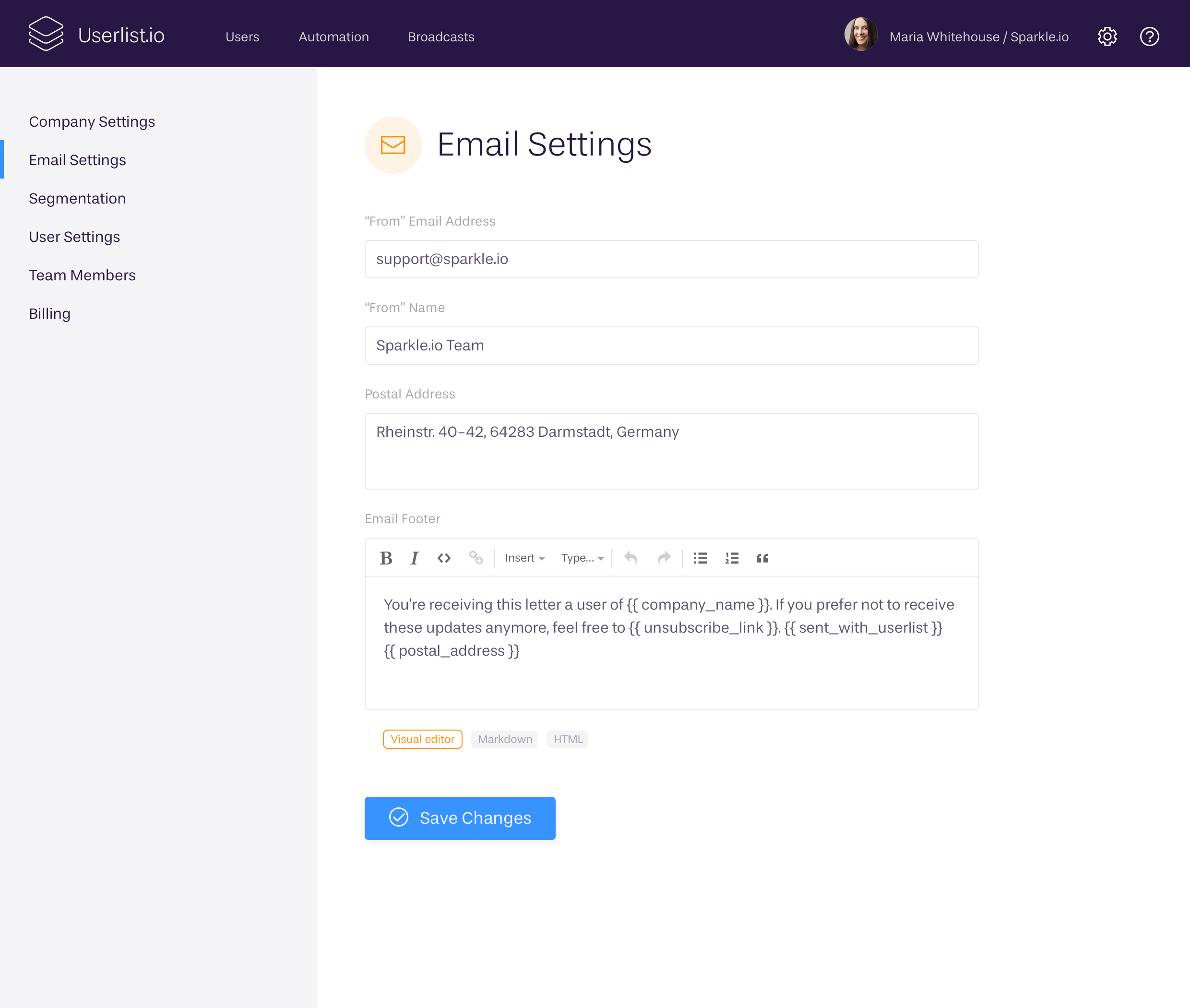 Email settings at Userlist