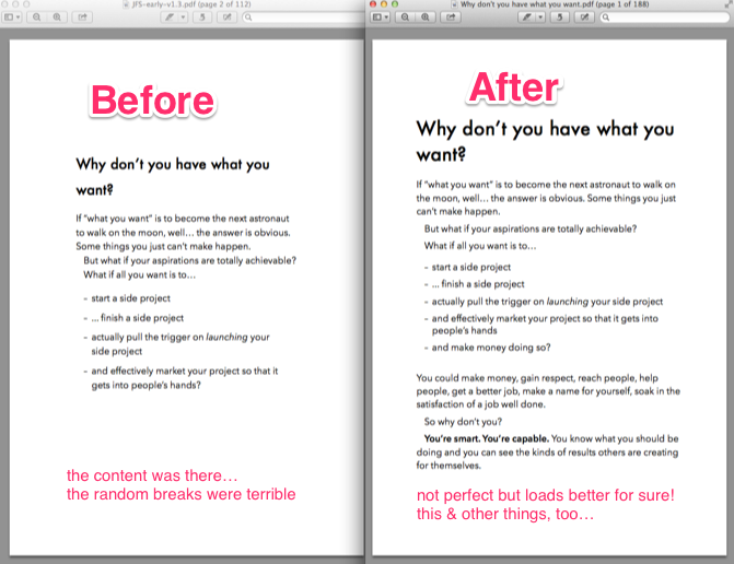 PDF Layout tweaks before & after