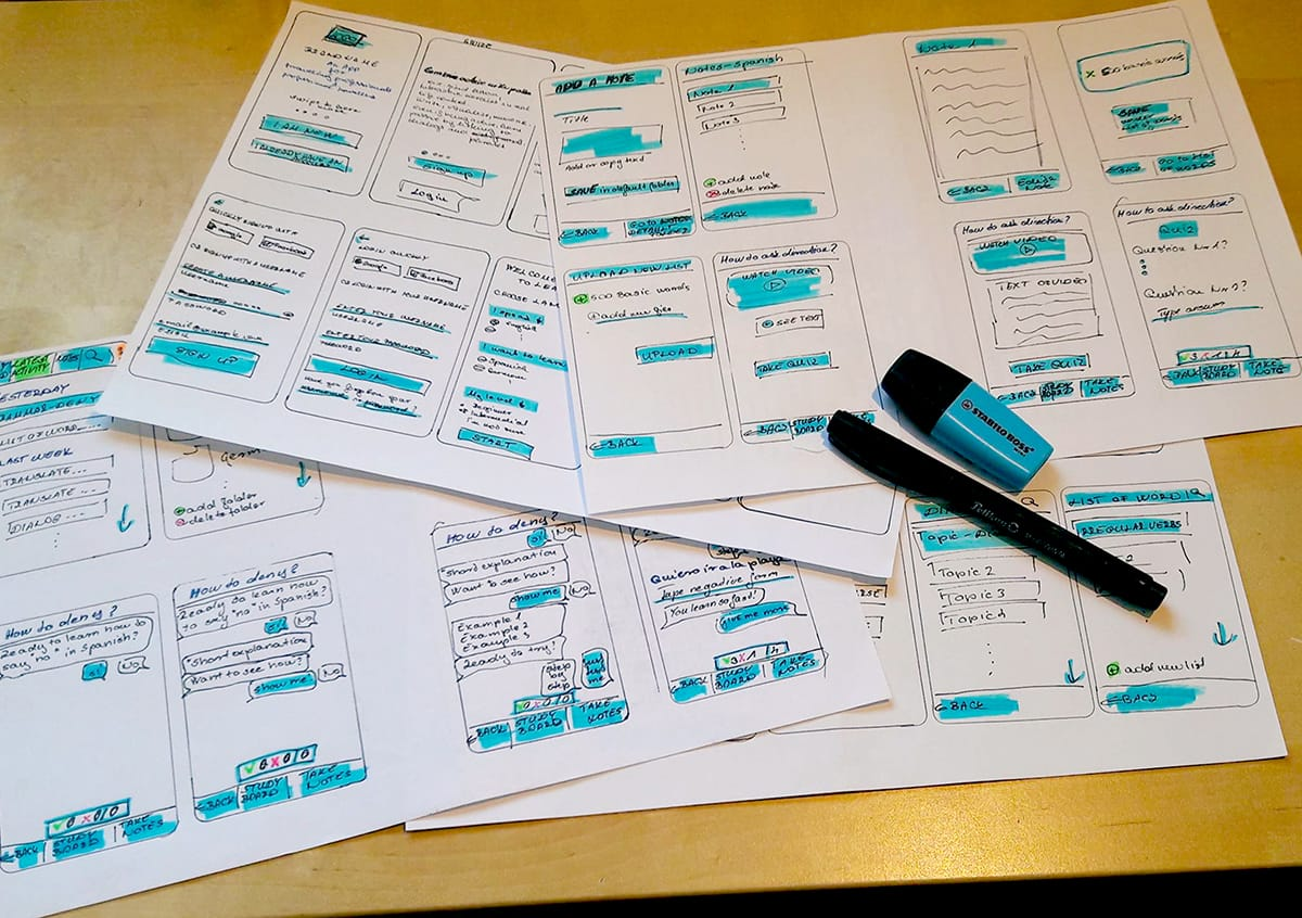 A photo of some hand-drawn wireframes from a UX design project