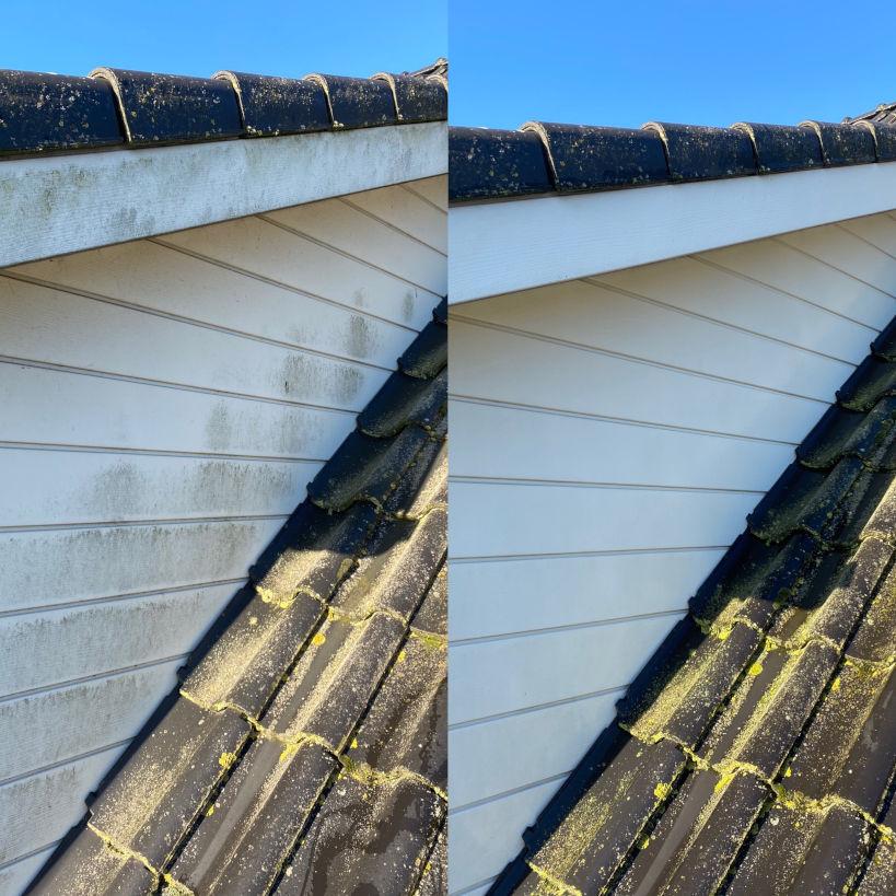 Zijgevel dakkapel van houten planken reinigen