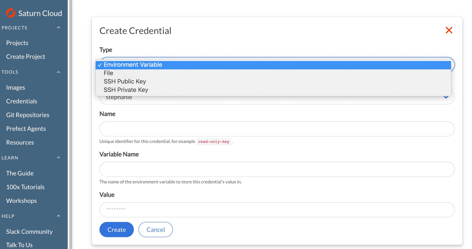 Screenshot of Saturn Cloud Create Credentials form