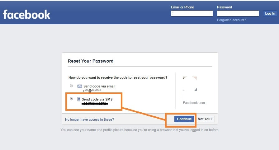 Facebook Recovery via text code: Select your number